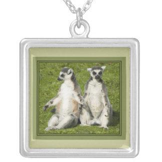 Mr & Mrs Lemur Square Pendant Necklace