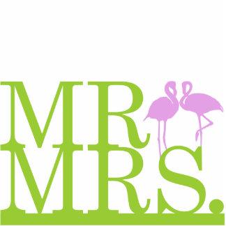 Mr & Mrs Lime & Lavender Flamingos Cake Topper Cutout