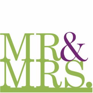 Mr & Mrs Lime & Purple Ampersand Cake Topper Statuette
