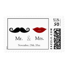 Mr & Mrs - Lips And The Stache Postage at Zazzle