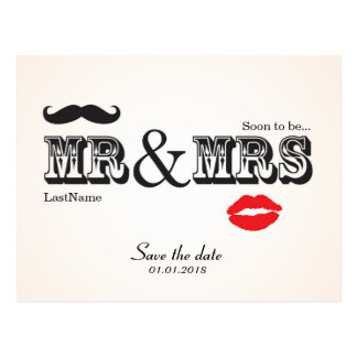Mr & Mrs Lips & Moustache save the date postcard