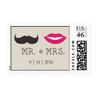 Mr. Mrs. Lips Moustache with date Postage Stamp