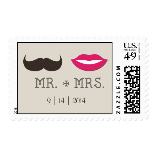 Mr. Mrs. Lips Moustache with date Stamps