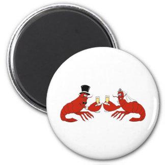 Mr. & Mrs. Lobster 2 Inch Round Magnet