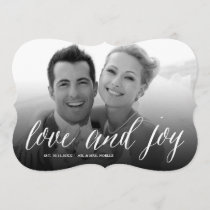 Mr & Mrs Love And Joy Script Holiday Photo Card