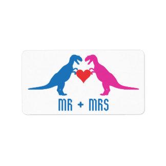 Mr+Mrs - Love Dinosaurs Custom Address Label