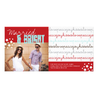 Mr & Mrs Love Peace Joy Kisses Holiday Photo Card