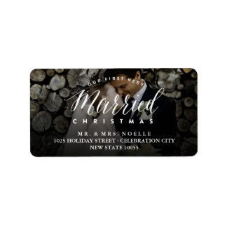 Mr & Mrs Married 1st Christmas Holiday Photo Label
