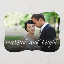 Mr & Mrs Married And Bright Holiday Photo Card