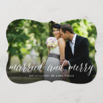 Mr & Mrs Married And Merry Chic Holiday Photo Card