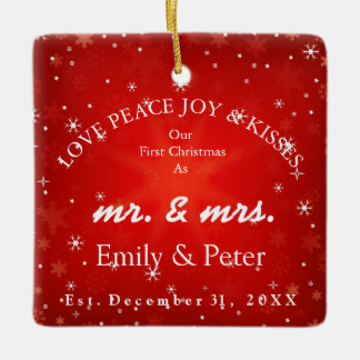 Mr & Mrs Married Christmas Ceramic Ornament