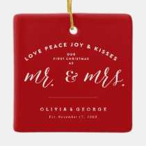 Mr & Mrs Married First Christmas Holiday Ornament