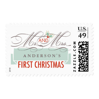 Mr & Mrs Married First Christmas Holiday Stamps