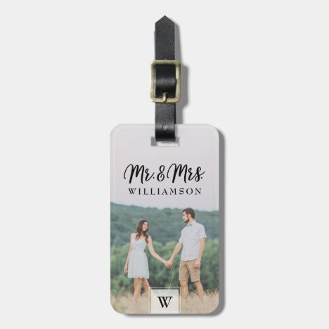 Mr & Mrs | Modern Newlyweds Photo & Monogram Luggage Tag
