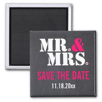 Mr. & Mrs. Modern typography wedding Save the Date Fridge Magnet