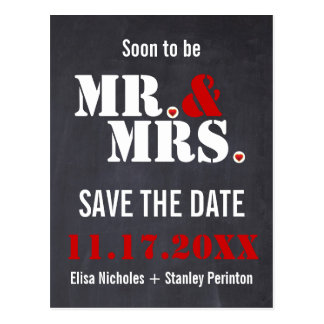 Mr. & Mrs. Modern typography wedding Save the Date Postcard