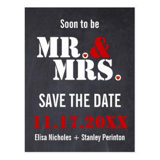 Mr. & Mrs. Modern typography wedding Save the Date Postcard