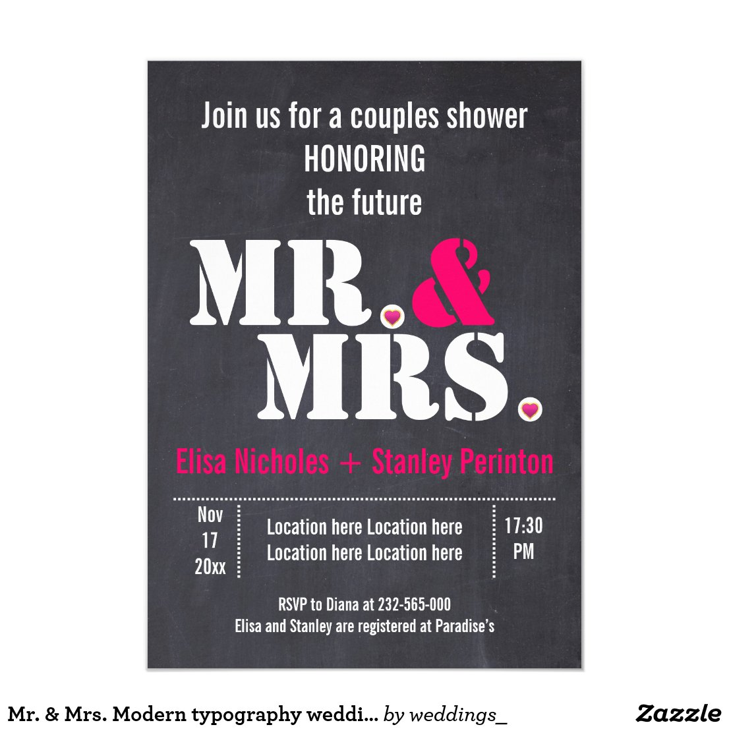 Mr. & Mrs. Modern typography wedding shower Invitation