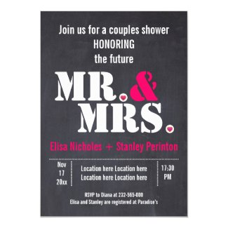 Mr. & Mrs. Modern typography wedding shower Invitation