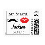 Mr. & Mrs. Mustache and Lips Wedding Postage Stamp