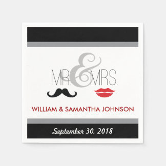 Mr. & Mrs. Mustache and Lipstick Napkins (black)