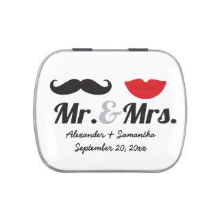 Mr. & Mrs. Mustache Lips Cute Custom Wedding Favor Candy Tins