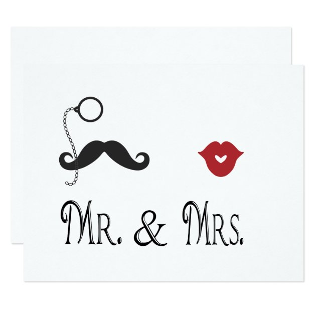 Mr Amp Mrs Mustache Amp Lips Wedding Invitations Zazzle