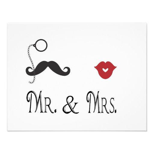 Mr. & Mrs. Mustache & Lips Wedding Invitations