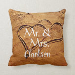 """Mr. & Mrs name two hearts in sand beach wedding Throw Pillow<br><div class=""""desc"""">Modern elegant,  Mr. and Mrs.,  two hearts in sand,  custom name, Beach Wedding pillow. You can personalize it and add your own text and name.</div>"""