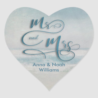 Mr. & Mrs. ocean watercolor Heart Sticker