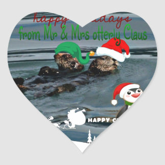 Mr & Mrs Otterly Claus Holiday Gift Heart Sticker