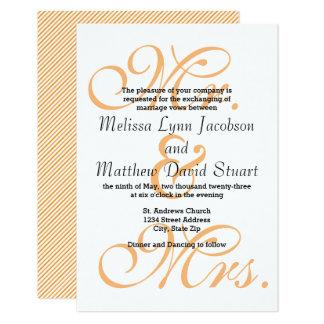 Mr. & Mrs. Peach - 3x5 Wedding Invitation