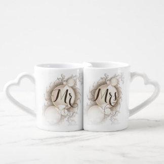Mr Mrs Pearls on White Coffee Mug Set
