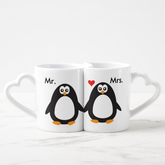 mr u0026 mrs penguin love coffee mug set