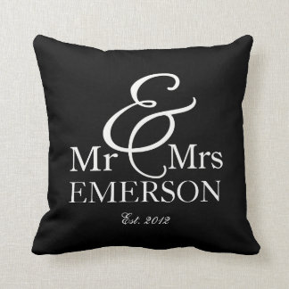 """Mr & Mrs"" personalized black & white Throw Pillows"