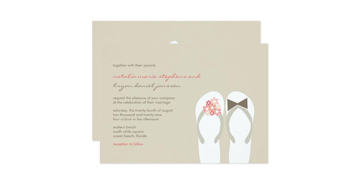 Mr Mrs Pink Flip Flops Beach Wedding Invitation Zazzle