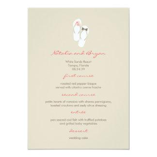 Mr & Mrs Pink Flip Flops Beach Wedding Menu Card