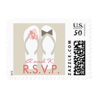 Mr & Mrs Pink Flip Flops Beach Wedding RSVP Stamps