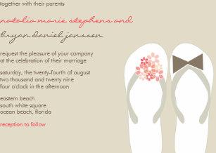 3b716c5686c7c7 Mr   Mrs Pink Flip Flops Cute Beach Wedding Invite