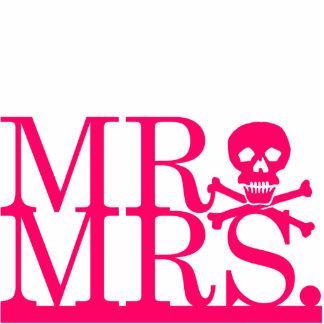 Mr & Mrs Pink Skull Cake Topper Statuette