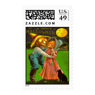 Mr & Mrs Pumpkin With Their Black Cat Postage