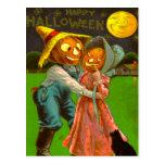 Mr. & Mrs. Pumpkin With Their Black Cat Postcard