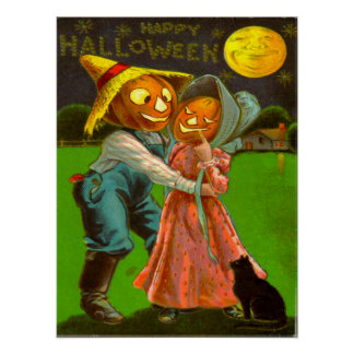 Mr & Mrs Pumpkin With Their Black Cat Posters