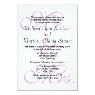 Mr. & Mrs. Purple - 3x5 Wedding & Reception Invite