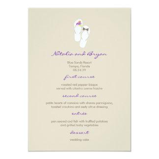 Mr & Mrs Purple Flip Flops Beach Wedding Menu Card
