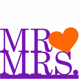 Mr & Mrs Purple & Orange Heart Cake Topper Statuette