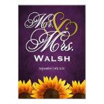 Mr & Mrs Purple Sunflower Wedding Invitations