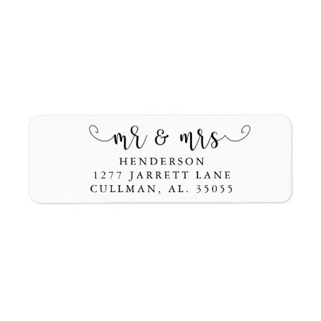 Mr & Mrs Return Address Label