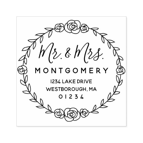 Mr  Mrs Return Address Rose Vine Script Floral Rubber Stamp