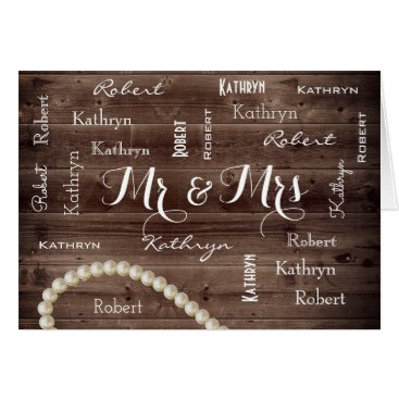 Beach Themed Mr & Mrs Rustic & Elegant Wedding Card